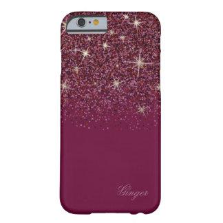 Funda Barely There Para iPhone 6 Glitz y purpurina rojos chispeantes