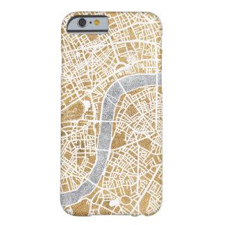 Funda Barely There Para iPhone 6 Mapa dorado de la ciudad de Londres