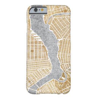Funda Barely There Para iPhone 6 Mapa dorado de la ciudad de Nueva York