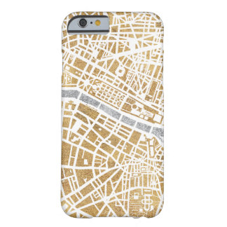 Funda Barely There Para iPhone 6 Mapa dorado de la ciudad de París