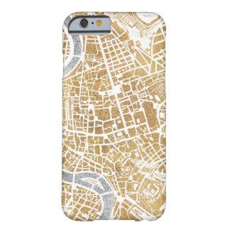 Funda Barely There Para iPhone 6 Mapa dorado de la ciudad de Roma