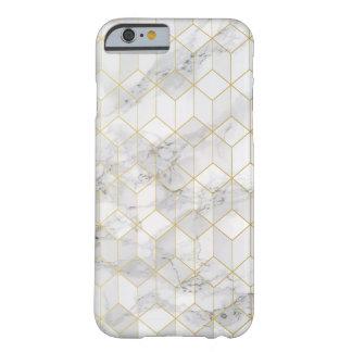 Funda Barely There Para iPhone 6 Mármol blanco con el modelo del cubo del oro