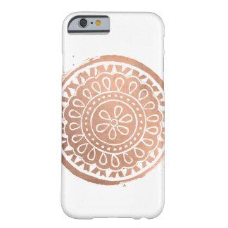 Funda Barely There Para iPhone 6 Oro subió logotipo elegante de la mandala de la