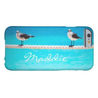 Funda Barely There Para iPhone 6 Pájaros lindos de la gaviota en el nombre azul del