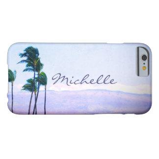Funda Barely There Para iPhone 6 Palmeras de Hawaii y nombre púrpura del
