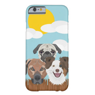 Funda Barely There Para iPhone 6 Perros afortunados del ilustracion en una cerca de