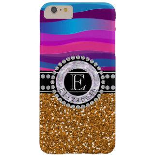 Funda Barely There Para Phone 6 Plus Azul rosado femenino, brillo del oro, diamantes,