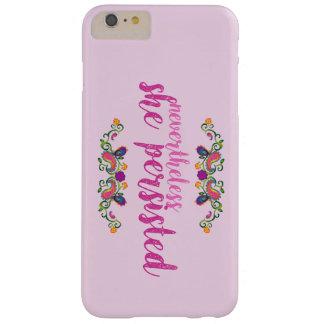 Funda Barely There Para Phone 6 Plus Ella persistió caso rosado del iPhone