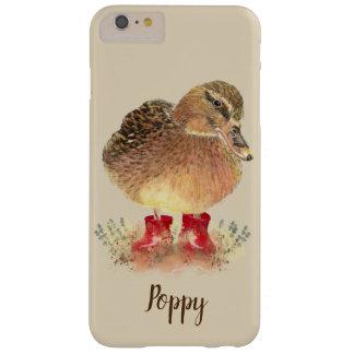 Funda Barely There Para Phone 6 Plus Pequeño pato lindo en arte rojo del pájaro de la