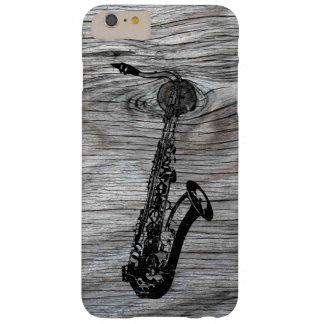 Funda Barely There Para Phone 6 Plus Vintage y saxofón rústico en la madera vieja