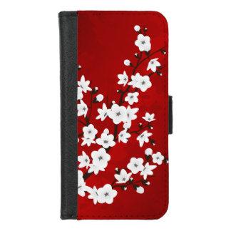 Funda Cartera Flores de cerezo blancas negras rojas