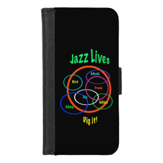 Funda Cartera La música de jazz vive iPhone negro 8/7 caja de la