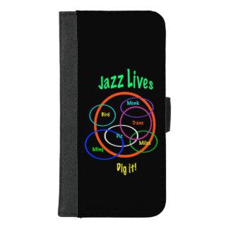 Funda Cartera La música de jazz vive iPhone negro 8/7 caja más