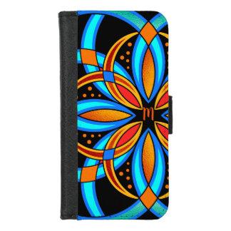 Funda Cartera mandala con monograma anaranjada azul del arte