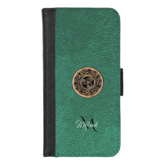 Funda Cartera Monograma de bronce de cuero verde de Triskele del