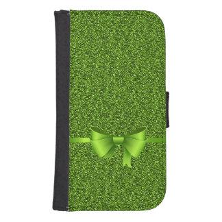 Funda Cartera Para Galaxy S4 Cinta verde del arco del purpurina