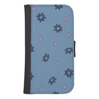 Funda Cartera Para Galaxy S4 Flores azules y púrpuras