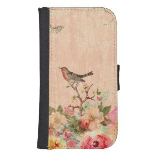Funda Cartera Para Galaxy S4 Moda lamentable, pájaro, mariposa, cordón, floral,