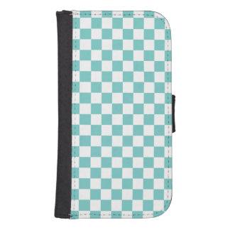 Funda Cartera Para Galaxy S4 Modelo del tablero de damas de la aguamarina