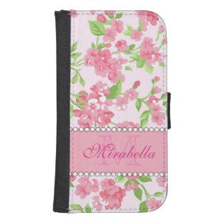 Funda Cartera Para Galaxy S4 Nombre de ramas rosado del flor de la acuarela de