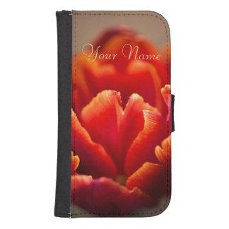 Funda Cartera Para Galaxy S4 Pétalos rojos bonitos del tulipán. Añada su nombre