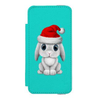 Funda Cartera Para iPhone 5 Watson Conejito blanco del bebé que lleva un gorra de