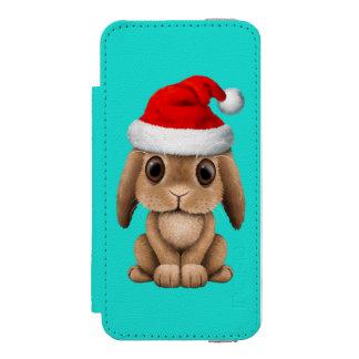 Funda Cartera Para iPhone 5 Watson Conejito del bebé que lleva un gorra de Santa