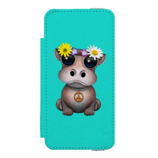 Funda Cartera Para iPhone 5 Watson Hippie lindo del hipopótamo del bebé
