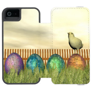 Funda Cartera Para iPhone 5 Watson Huevos coloridos para pascua - 3D rinden
