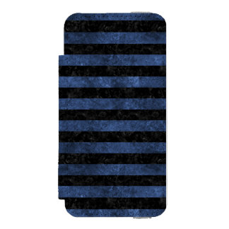 FUNDA CARTERA PARA iPhone 5 WATSON MÁRMOL NEGRO STRIPES2 Y PIEDRA AZUL