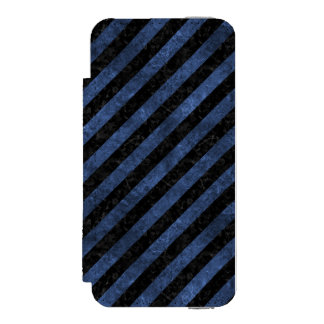 FUNDA CARTERA PARA iPhone 5 WATSON MÁRMOL NEGRO STRIPES3 Y PIEDRA AZUL