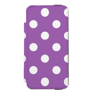 Funda Cartera Para iPhone 5 Watson Modelo de lunar púrpura y blanco