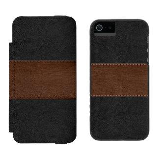 Funda Cartera Para iPhone 5 Watson Negro y textura del cuero del vintage de Brown