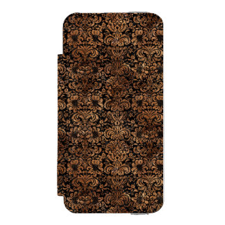 FUNDA CARTERA PARA iPhone 5 WATSON PIEDRA NEGRA DEL MÁRMOL DAMASK2 Y DE BROWN