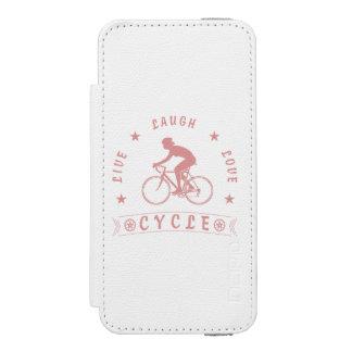 Funda Cartera Para iPhone 5 Watson Texto de Live Laugh Love Cycle de señora (rosa)