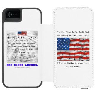 Funda Cartera Para iPhone 5 Watson Una nación dividida - DIOS BENDICE AMÉRICA