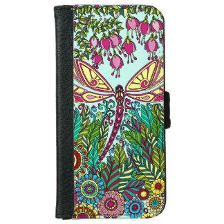 Funda Cartera Para iPhone 6/6s Amarillo fucsia del rosa de jardín de la libélula