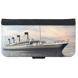 Funda Cartera Para iPhone 6/6s boat_titanic_close_water_waves_sunset_pink_standar