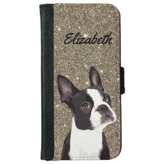 Funda Cartera Para iPhone 6/6s Caja del teléfono de Boston Terrier de la chispa