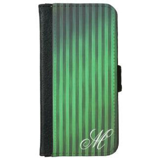 Funda Cartera Para iPhone 6/6s Caja verde con monograma del teléfono de las rayas
