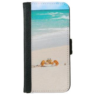 Funda Cartera Para iPhone 6/6s Cangrejo lindo en una playa tropical