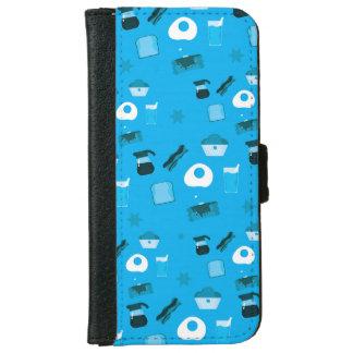 Funda Cartera Para iPhone 6/6s Desayuno en azul