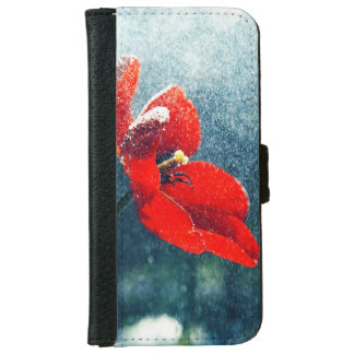 Funda Cartera Para iPhone 6/6s Flor en la lluvia