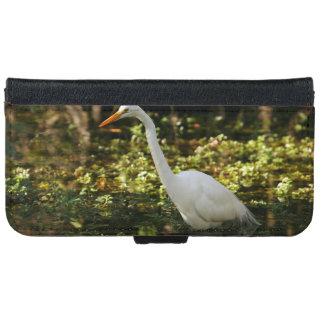 Funda Cartera Para iPhone 6/6s Gran Egret que vadea en los marismas