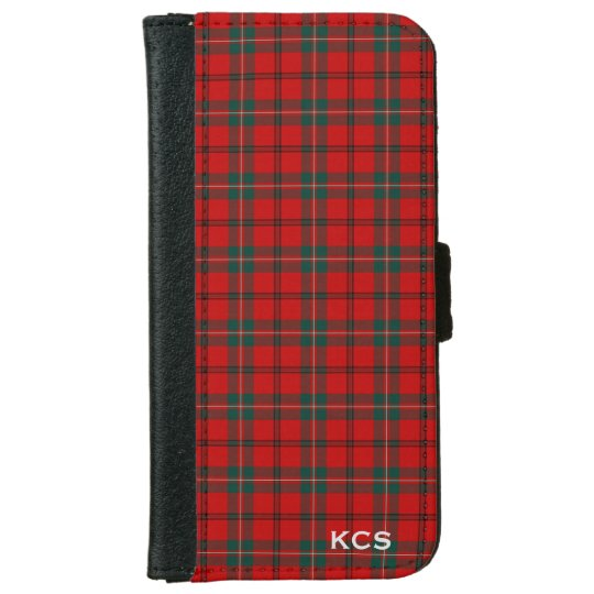 Funda Cartera Para iPhone 6/6s Monograma escocés rojo de la tela escocesa del