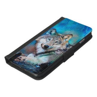 Funda Cartera Para iPhone 6/6s Plus Arte azul del lobo