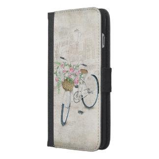 Funda Cartera Para iPhone 6/6s Plus Bicicletas del vintage con la cesta de los rosas