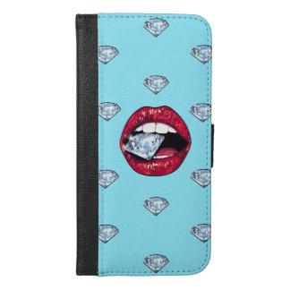 Funda Cartera Para iPhone 6/6s Plus Diamante elegante de los labios femenino