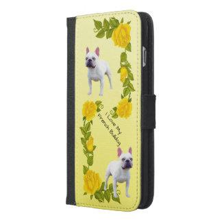 Funda Cartera Para iPhone 6/6s Plus Dogo francés y rosas amarillos