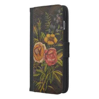 Funda Cartera Para iPhone 6/6s Plus El vintage pintado florece color de rosa